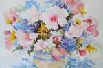 Pink Hibiscus Blue Hydrangeas